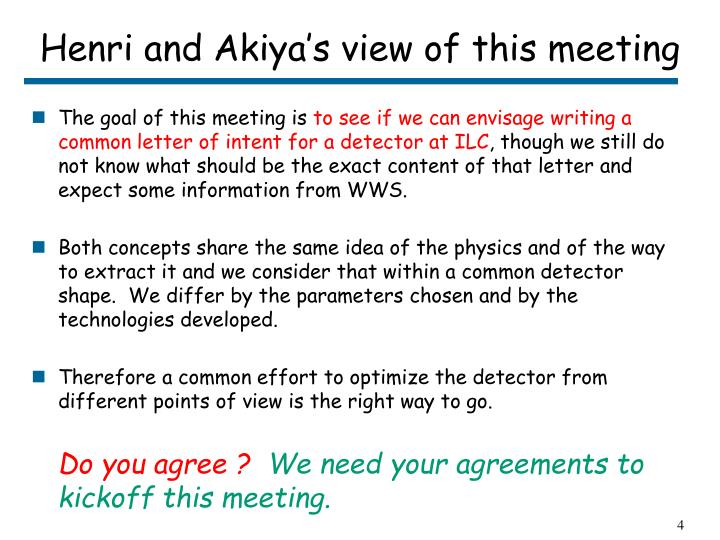 Henri and Akiya's view of this meeting