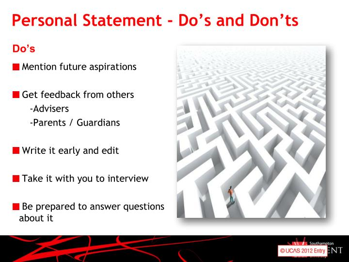Personal Statement - Do's and Don'ts