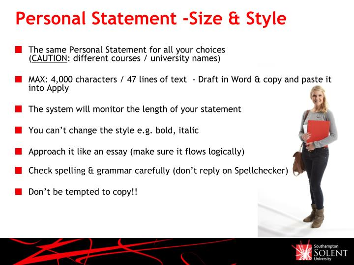 Personal Statement -Size & Style