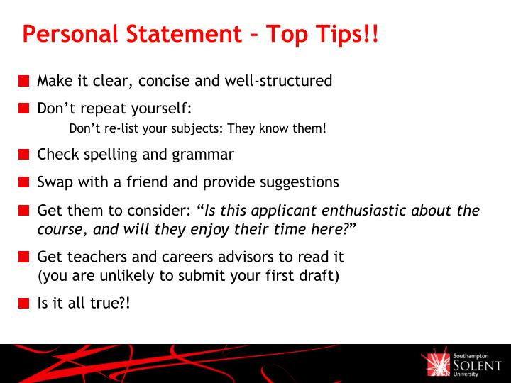 Personal Statement – Top Tips!!