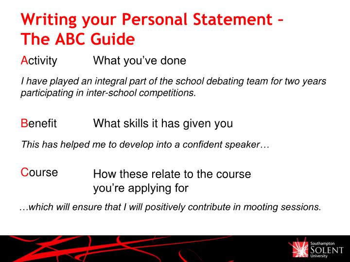 Writing your Personal Statement –