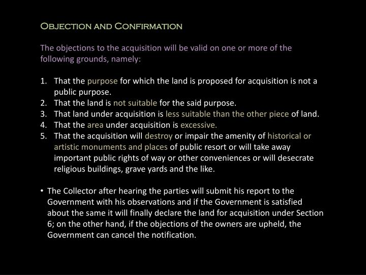 Objection and Confirmation