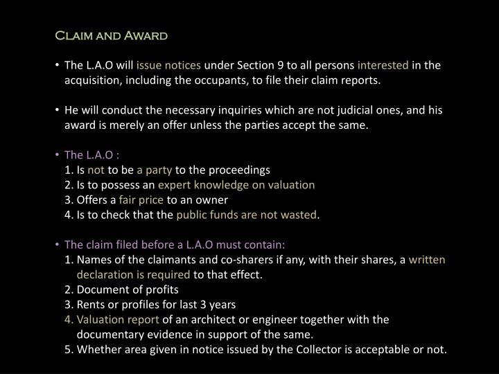 Claim and Award