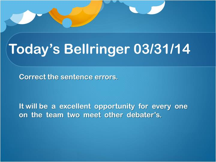 Today s bellringer 03 31 141