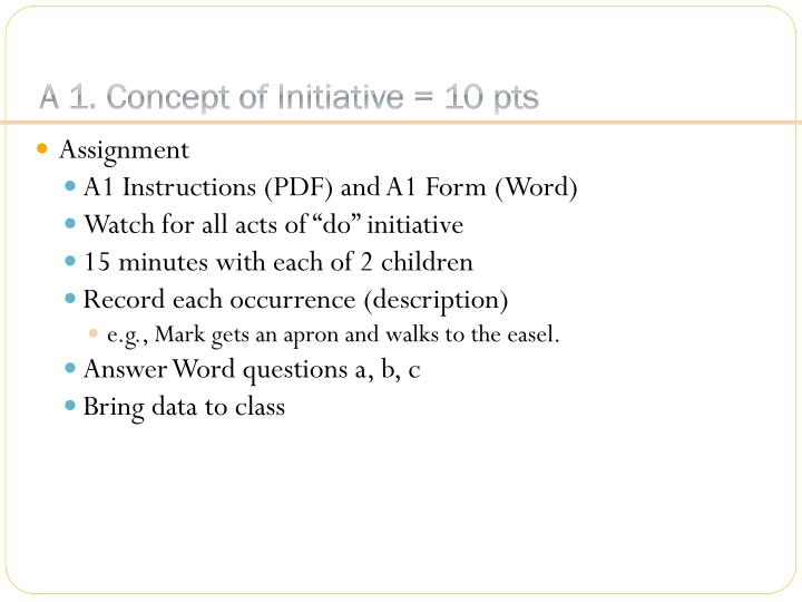 A 1. Concept of Initiative = 10 pts