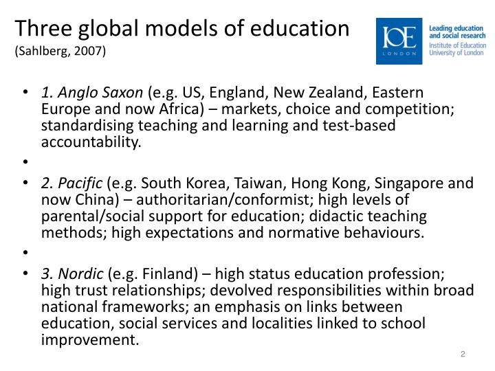 Three global models of education