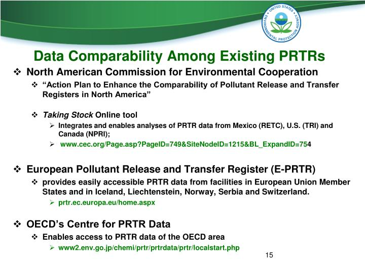 Data Comparability Among Existing PRTRs