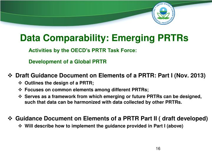 Data Comparability: Emerging PRTRs