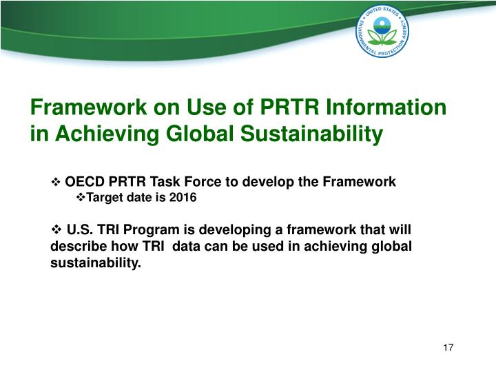 Framework on Use of PRTR Information in Achieving Global Sustainability