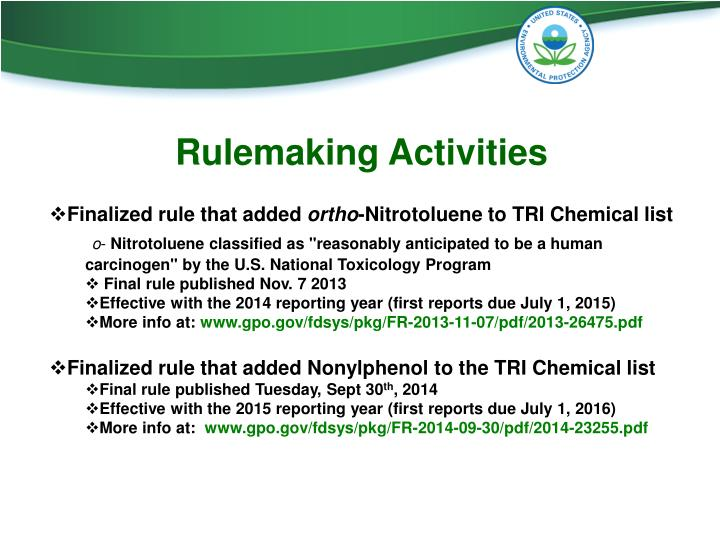 Rulemaking Activities