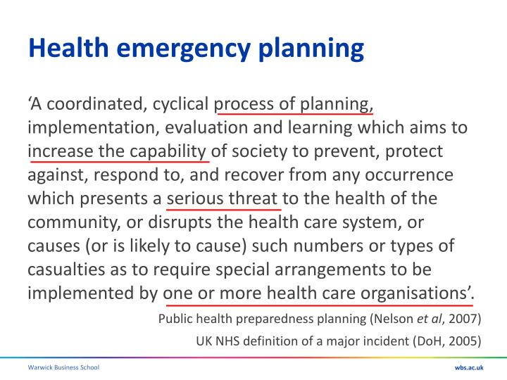 Health emergency planning