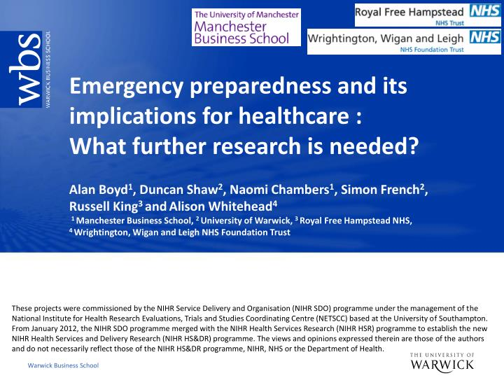 Emergency preparedness and its implications for healthcare