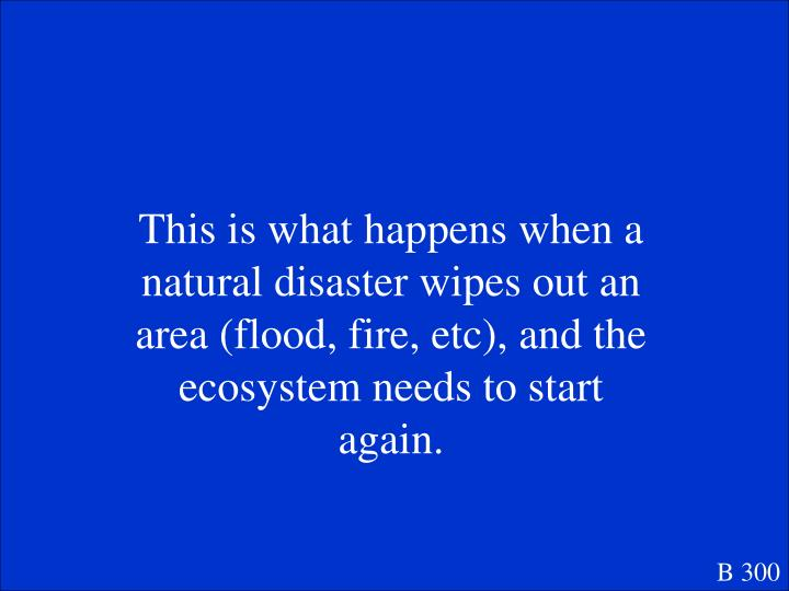 This is what happens when a natural disaster wipes out an area (flood, fire, etc), and the ecosystem needs to start again.