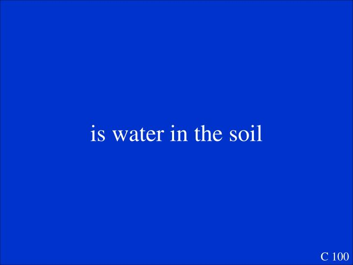 is water in the soil