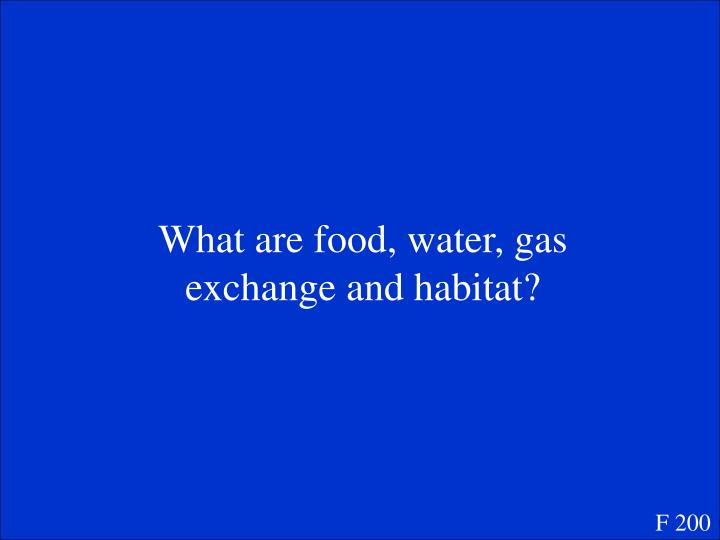 What are food, water, gas exchange and habitat?