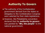 authority to govern