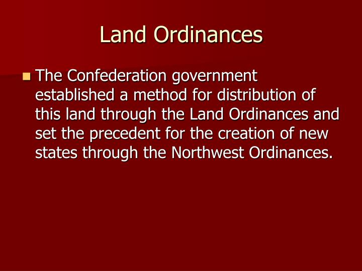 Land Ordinances