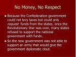 no money no respect