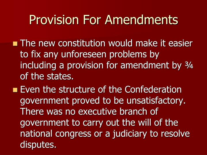 Provision For Amendments