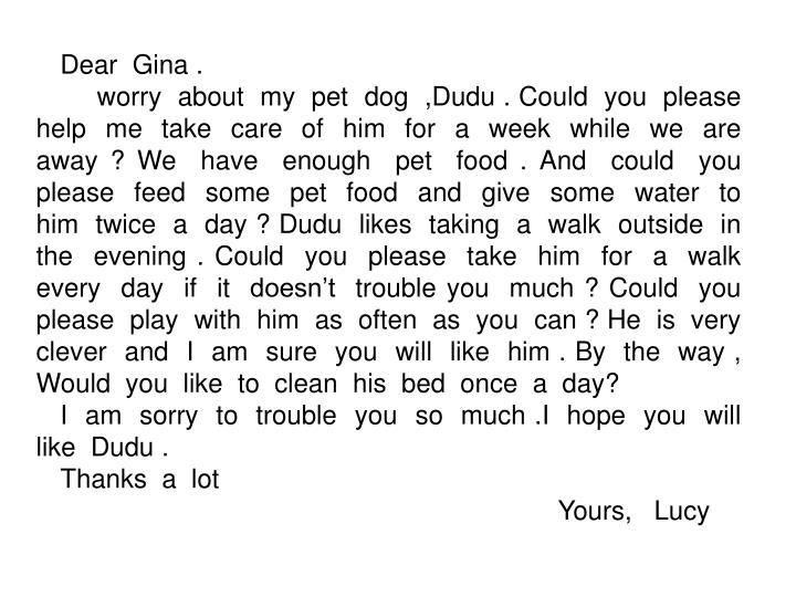 Dear  Gina .