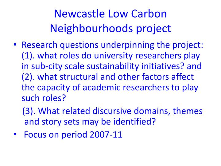 Newcastle Low Carbon Neighbourhoods project