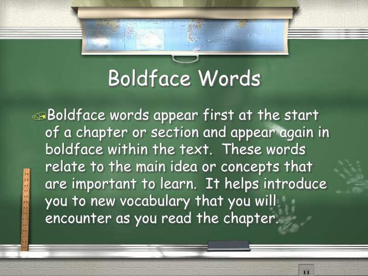 Boldface Words