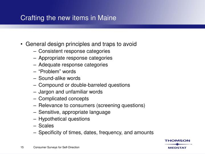 Crafting the new items in Maine