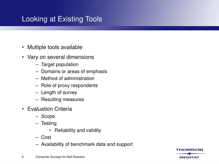 Looking at Existing Tools