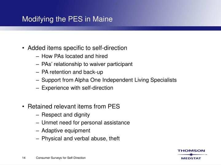 Modifying the PES in Maine