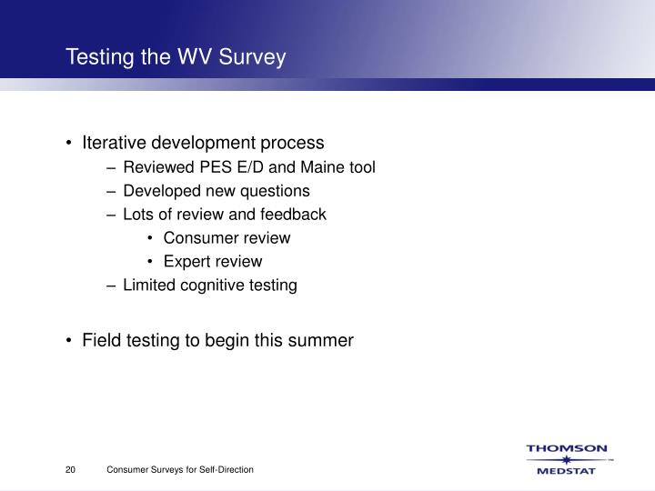 Testing the WV Survey