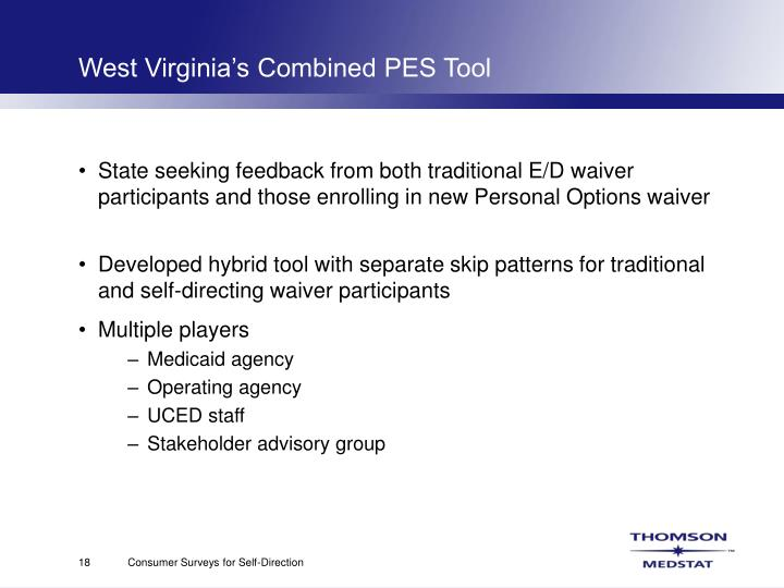West Virginia's Combined PES Tool