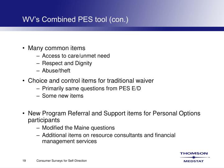 WV's Combined PES tool (con.)