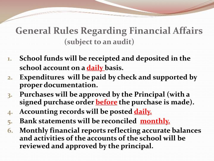 General Rules Regarding Financial Affairs