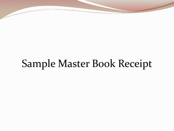 Sample Master Book Receipt