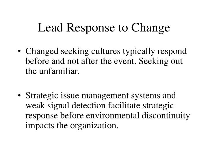 Lead Response to Change