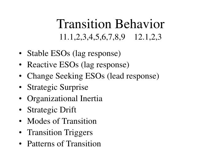 Transition behavior 11 1 2 3 4 5 6 7 8 9 12 1 2 3