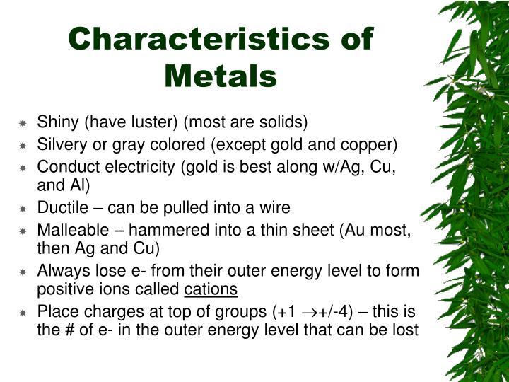 Characteristics of Metals