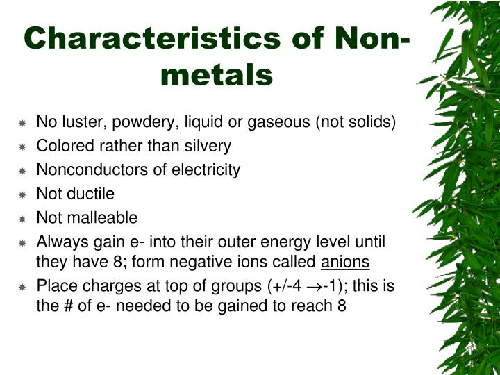 Characteristics of Non-metals