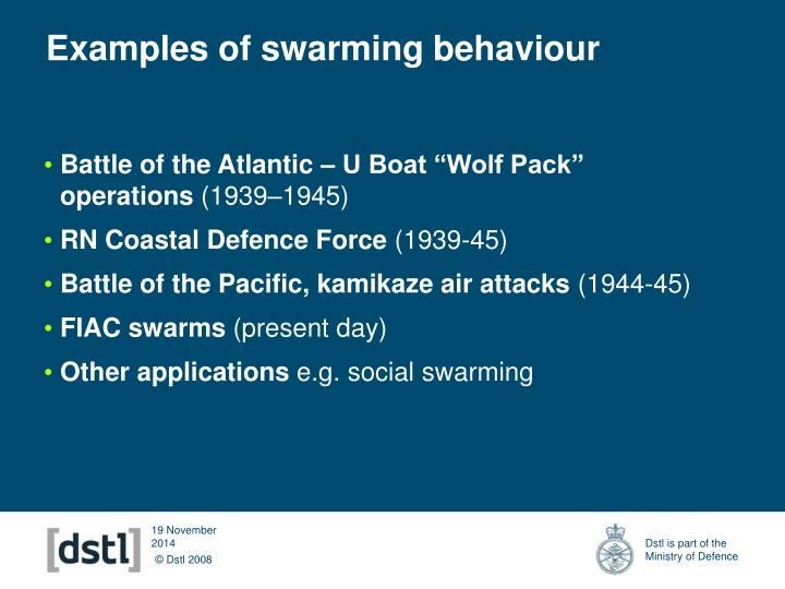 Examples of swarming behaviour