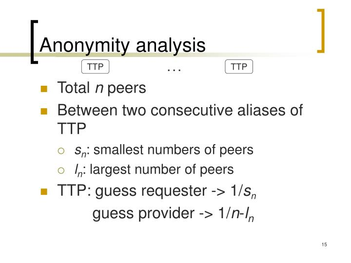Anonymity analysis