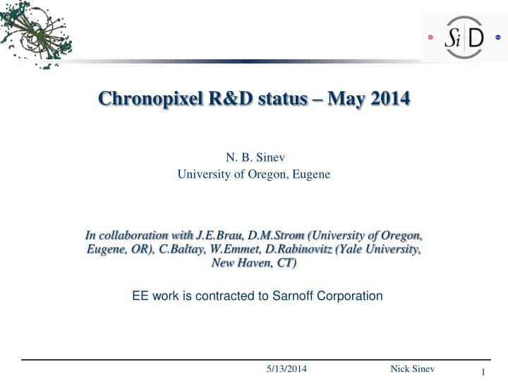 Chronopixel r d status may 2014