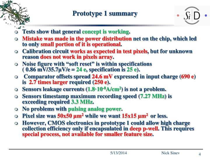 Prototype 1 summary