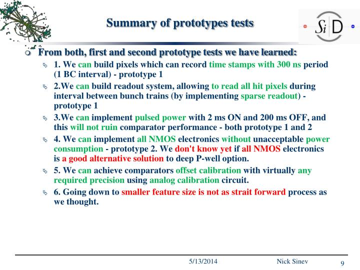 Summary of prototypes tests