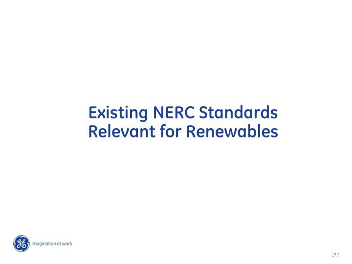 Existing NERC Standards Relevant for Renewables