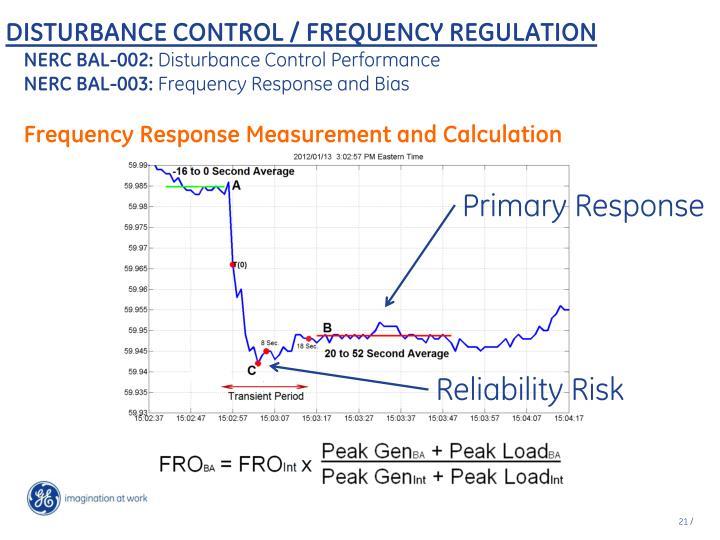 DISTURBANCE CONTROL / FREQUENCY REGULATION
