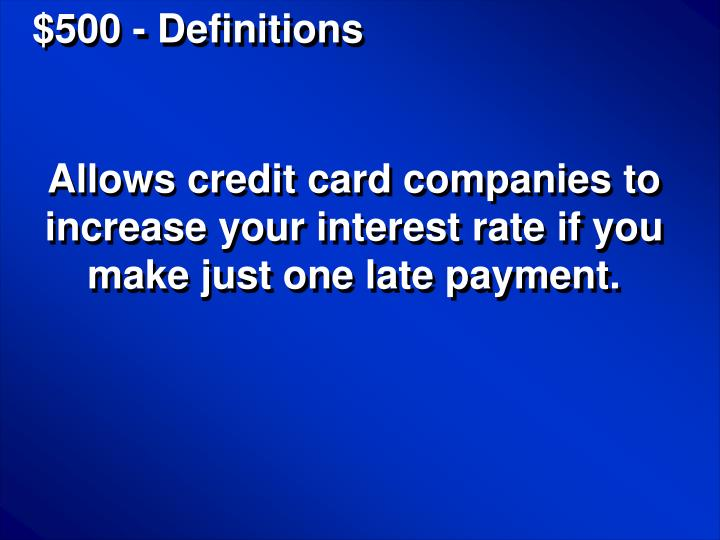 $500 - Definitions