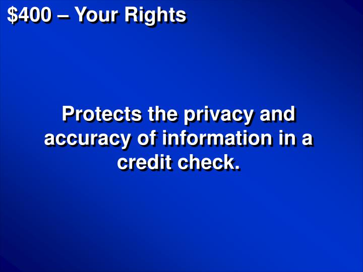 $400 – Your Rights
