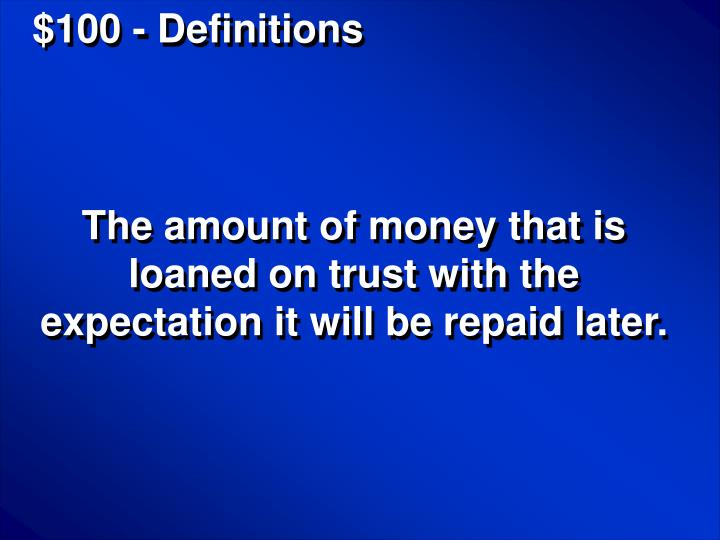 $100 - Definitions
