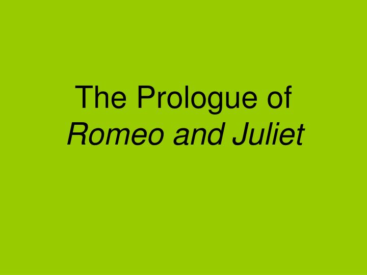 The Prologue of