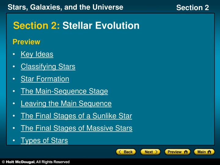 Section 2 stellar evolution